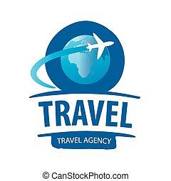 omkring, klot, flygning, vektor, logo, airplane