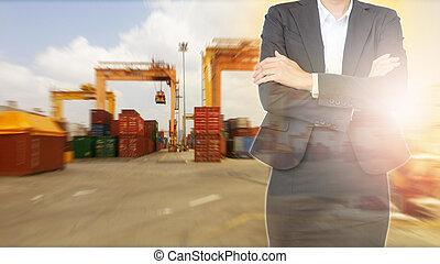 omkring, kvinde, beholder, firma, baggrund., eksporter, import, skib, havn