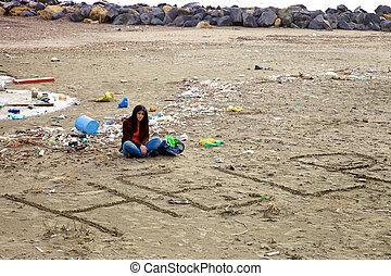 omkring, kvinde, hjælp, snavs, spørge, desperat, strand, forurening
