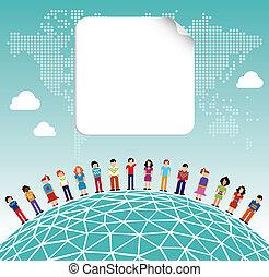 omkring, medier, globale, sociale, verden, netværk