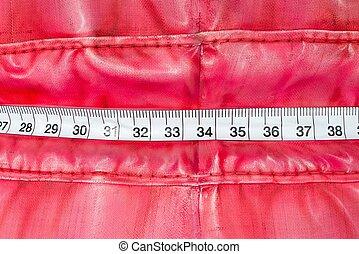omkring, plastisk, väska, tejpa, mått, sjal, röd