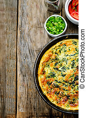 omlet, szpinak, koper, cebule, pietruszka, zielony, ...