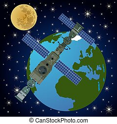 omlopps, station-3, satellit