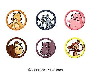 omnívoro, círculo, animal, ilustração