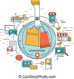 omni-channel concept illustration - omni-channel in flat ...