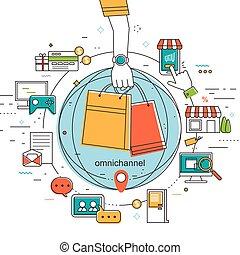 omni-channel, concepto, ilustración