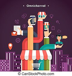 omni-channel shopping experience in flat design style
