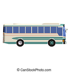 omnibus - rendering of a bus with Clipping Path over white