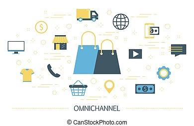 omnichannel, illustration., venta al por menor, en línea, fuera de línea, concepto