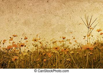 omodern, blomma, artistisk