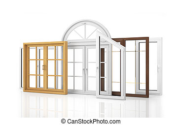 ?omposition of various kinds of window isolated on white background