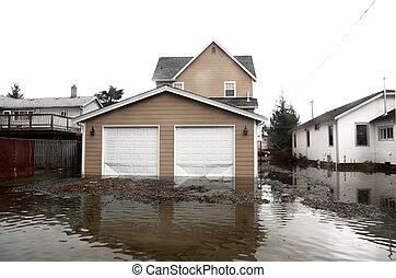 område, översvämning, seattle, washington, usa