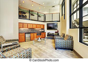 område, nymodig, liten, sittande, inre, apartment., kök