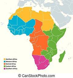 områden, afrika, politisk, karta