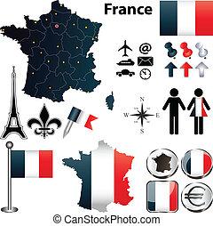 områden, karta, frankrike