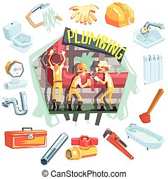 omringde, werken, beroep, drie, verwant, voorwerpen, loodgieters