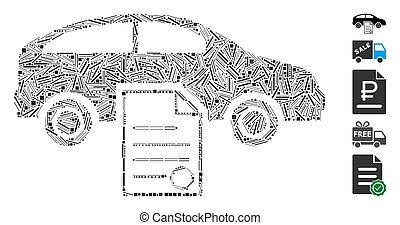 omsætning, automobilen, kontrakt, ikon, mosaik, bagklappen