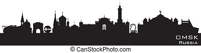 Omsk Russia city skyline Detailed silhouette
