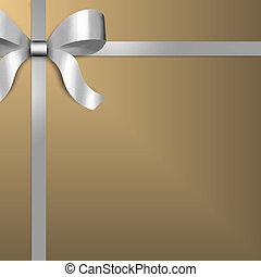 omslag, lint, goud, cadeau, zilver