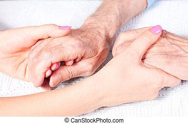 omsorg, är, hemma, av, äldre