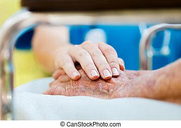 omsorg för, äldre, in, rullstol
