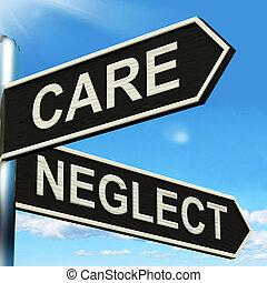 omsorg, försumma, vägvisare, visar, omsorgen, eller,...