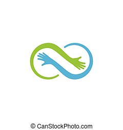 omsorg, logo, hånd