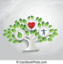 omsorg, symboler, begrepp, hälsa, mänsklig, träd, hälsosam
