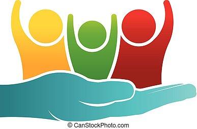 omsorgen, av, familj, folk, logo