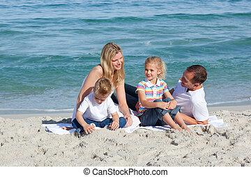 omsorgen, barn, föräldrar, deras, sittande, sand