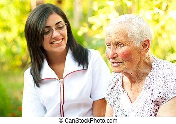 omsorgen, dam, gammal, lyssnande, läkare