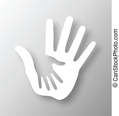 omsorgen, hand, applique