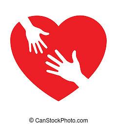 omsorgen, hjärta, ikon, räcker