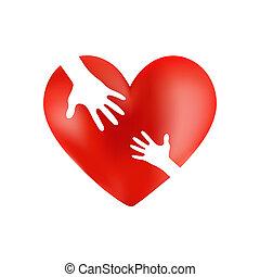 omsorgen, hjärta, röd, räcker