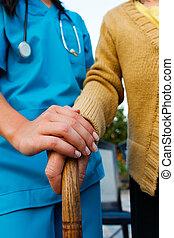 omsorgen, senior, räcker, dam, läkare