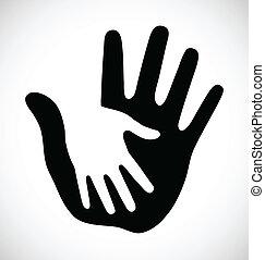 omsorgen, tät, hand
