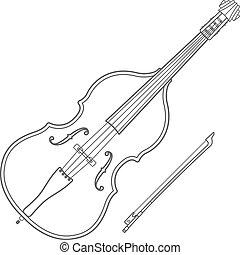 omtrek, illustratie, muziek instrument, contrabass, donker