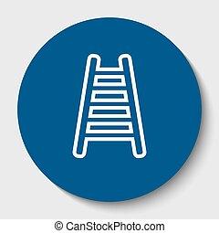 omtrek, illustration., isolated., ladder, meldingsbord, donker, achtergrond., vector., cerulean, cirkel, witte , pictogram