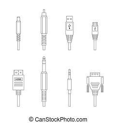 omtrek, vector, gevarieerd, audio, schakelaars, en, inputs