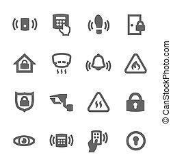 omtrek, veiligheid, iconen
