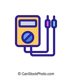 omtrek, voltmeter, vector., illustratie, symbool, vrijstaand...
