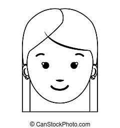 bovenkant vrouw aanzicht omtrek gezicht vrouw