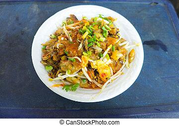 omułek, thai, dosmażane jadło, naleśnik