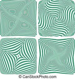 omwenteling, en, twisting., abstract, ontwerpen, set.