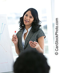 omzet, ethnische , figuren, businesswoman, berichtgeving