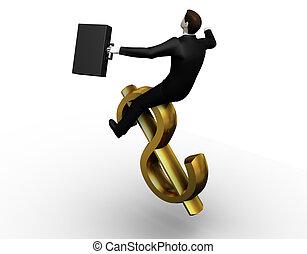 3d businessman tames dollar
