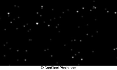 On a black background falling snowflakes with white hearts HD