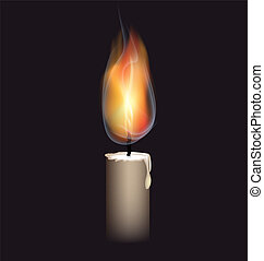 burning candle - on a black background is a big burning...