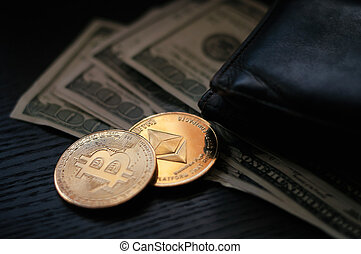 dollars, bitcoin and ether - on a black background next to ...