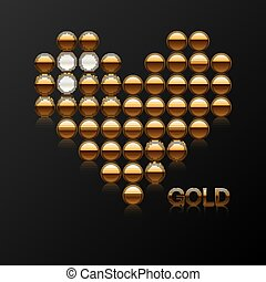 On a black background, the heart is invested with expensive stones and gold. Vector
